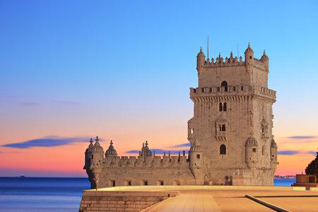 belem: Tower of Belem (Torre de Belem), on sunset, Lisbon, Portugal Editorial