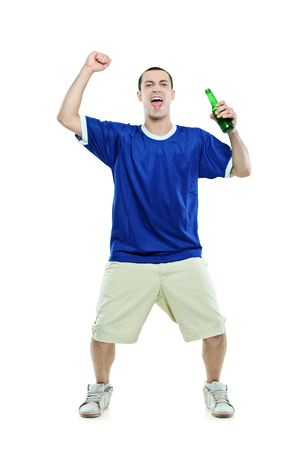supporter: Excited football fan with a beer in his hand watching sport isolated on white background Stock Photo
