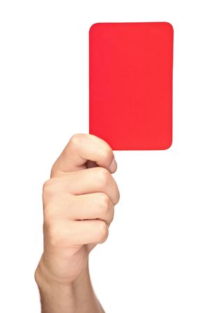 Hand holding a red card isolated on white background photo