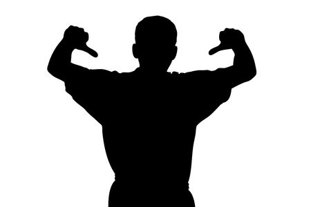 loser: A silhouette of a sport fan with thumbs down isolated on white