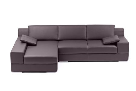 A view of a modern black sofa isolated on white, image taken in a studio photo