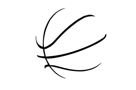 basketball ball: A silhouette of a basketball isolated against white background