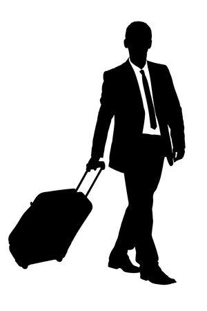 viajero: Una silueta de un viajero de negocios llevando una maleta aislada sobre fondo blanco