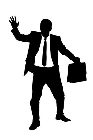 A silhouette of a confused blindfold businessman isolated on white background Stock Photo - 7322364