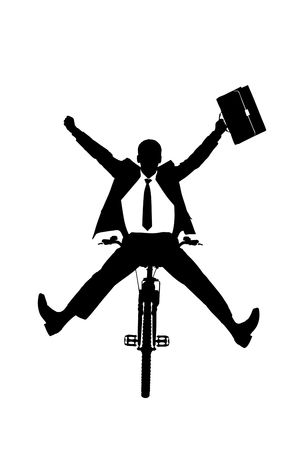 bicycle silhouette: A silhouette of a happy businessman on a bicycle isolated on white background