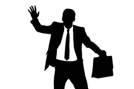 A silhouette of a confused blindfold businessman isolated on white background Stock Photo - 7329723
