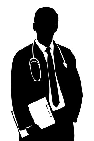 doctors tools: A silhouette of a doctor isolated against white background Stock Photo