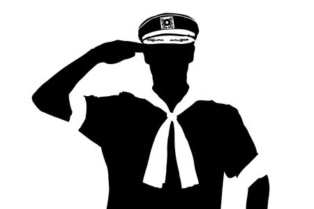 seaman: A silhouette of a sailor saluting isolated on white background
