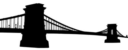 chain bridge: A silhouette of a Chain bridge (Szechenyi Lanchid) in Budapest, Hungary, isolated on white background
