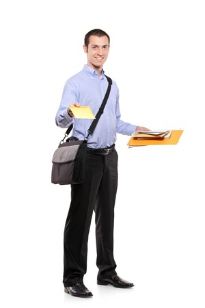 mailing: A postman delivering mail isolated on white background Stock Photo