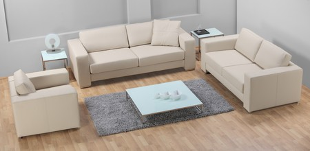 A studio shot of a white leather sofa ATTENTION !!! This is studio shot, not required property release Stock Photo - 7423447