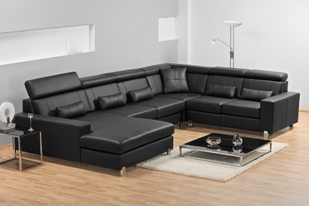 A studio shot of black leather furniture photo