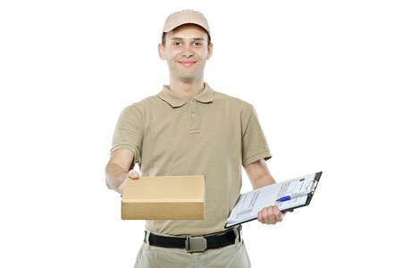delivery man: A delivery man bringing a package and holding out a clipboard isolated on white background Stock Photo