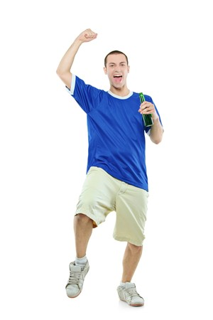 admirer: Excited football fan with a beer in his hand watching sport isolated on white background Stock Photo