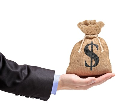 A view of a hand holding a money bag isolated on white photo