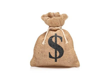 us money: A view of a money bag with US sign against white background Stock Photo