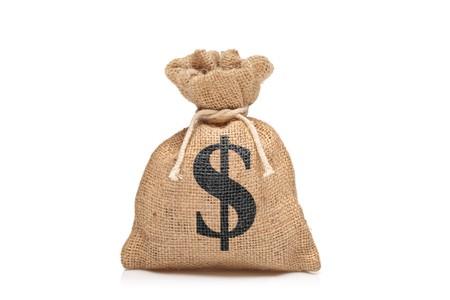 signos de pesos: Una vista de una bolsa de dinero con signo contra el fondo blanco de los Estados Unidos