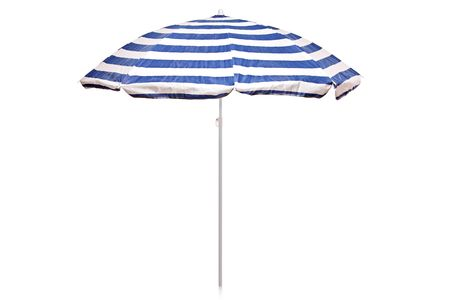 Blue and white striped umbrella isolated on white background Stock Photo - 7563100
