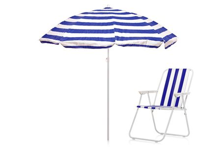 A view of an umbrella and chair isolate on white background photo