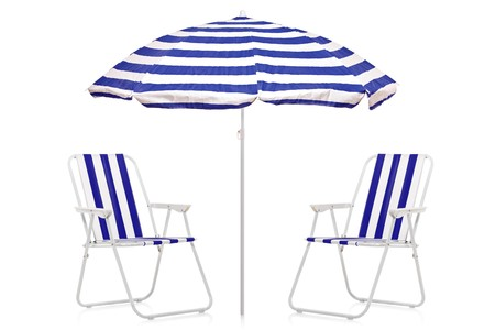 A view of a blue and white striped umbrella and beach chairs isolated on white background Stock Photo - 7612282