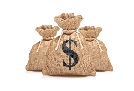 dollar bag: A view of three money bags with US dollar sign against white background