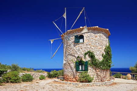disuse: Windmill on Zakynthos island, Greece Stock Photo