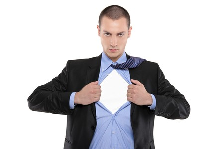 pull: Superhero businessman opening blue shirt Blank white t-shirt underneath provides excellent copy space for your image, text or logo