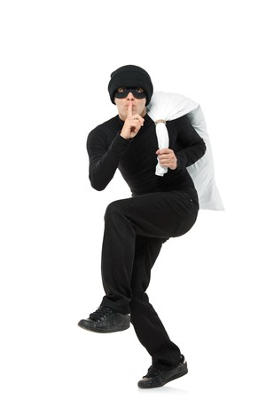 shoplifter: Criminal running away carrying a bag isolated against white background