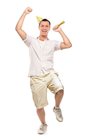 Full length portrait of a party person celebrating isolated against white background Stock Photo - 7776149