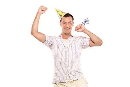 A party person celebrating isolated against white background Stock Photo - 7776162