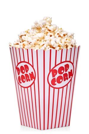 Casella classico della casella rossa e bianca popcorn isolato su sfondo bianco