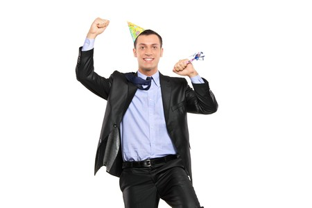 A party person celebrating isolated against white background Stock Photo - 7831742