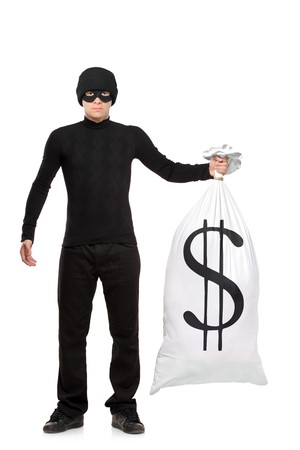 scammer: Full length portrait of a thief holding a bag with US sign isolated against white background Stock Photo