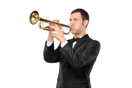interpreter: A man in a suit playing a trumpet isolated on white background