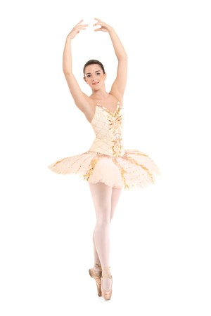 ballerina costume: A beautiful ballerina dancer making a ballet posing against white background