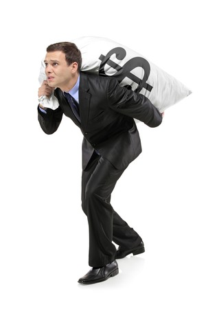 A man carrying a money bag isolated on white background photo