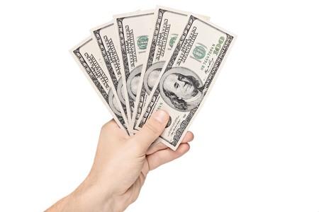 Hand holding US dollars isolated on white background Stock Photo - 8100096