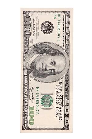 cuenta: Una vista de un frente de billete de 100 d�lares de los Estados Unidos aislado sobre fondo blanco  Foto de archivo