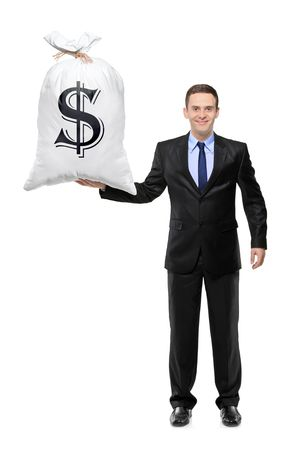 hardly: A full length portrait of a businessman holding a money bag isolated on white background  Stock Photo