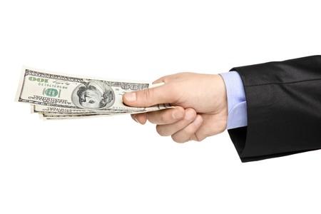 Hand holding US dollars isolated on white background Stock Photo - 8100156