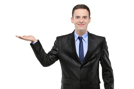 hand lifted: Portrait of a man in a suit with right hand lifted isolated on white background