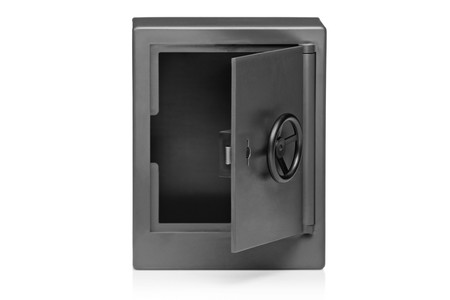 A view of a deposit safe isolated on white background photo