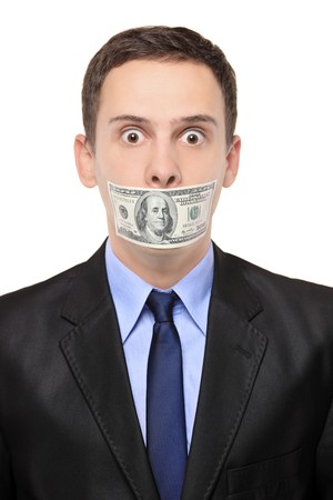 A man with a 100 dollar banknote on his mouth isolated on white background photo