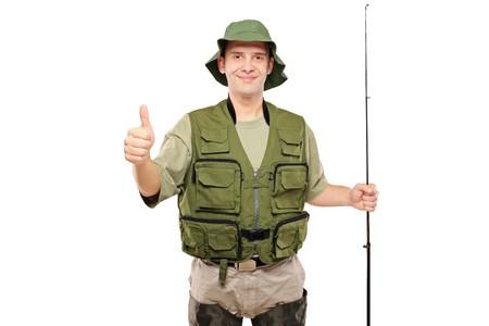 positivism: Una vista de un pescador feliz con pulgar arriba aislado sobre fondo blanco
