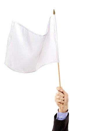 Hand waving a white flag isolated on white background Stock Photo - 8280041