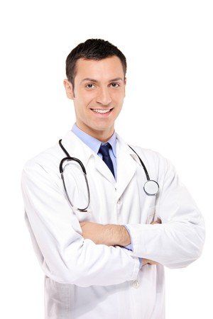 man doctor: A portrait of a medical doctor posing against white background