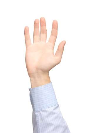 A view of a raised hand isolated on white background photo