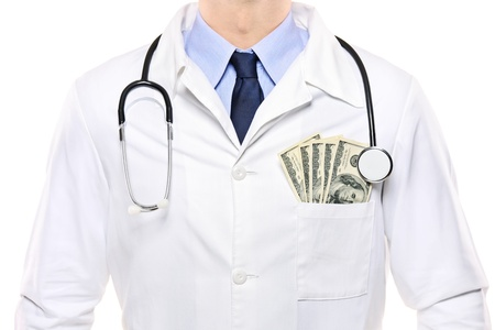A portrait of a doctor with  US dollars in his pocket isolated on white background Stock Photo - 8274611