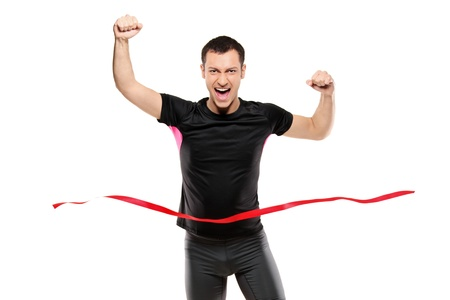 Young runner at the finish line isolated on white background Stock Photo - 8280047