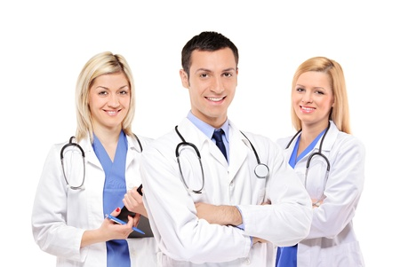 A view of a happy medical team of doctors, man and women, isolated on white background Stock Photo - 8379756